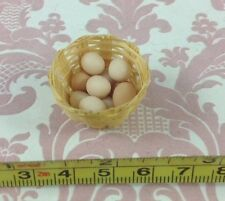 Dollhouse Miniature Store/Market/Home/Farm Food 10 Eggs with Basket 1:12
