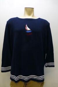 Lauren Ralph Lauren LRL thick blue knit Nautical Sweater sailboat womens sz 3X