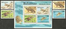 BAHAMAS Sc# 564 - 567a MNH FVF Set-4+ Souv Sheet Iguana Lizard Turtle Frog