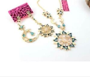 Sets Fashion Betsey Johnson Pendant Jewelry Sun Moon Earrings Necklace earring