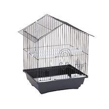 Cage à oiseaux en Acier + Mangeoires Balançoire  Tiroir  GM  34 x 28 x H46 Noir