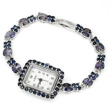 Sterling Silver 925 Genuine Rich Blue Violet Iolite Two Row Bracelet Watch 7 In