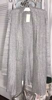NEW Plus Size 2X Gray Open Cardigan Sweater Coat Silver Topper 18 20 $52