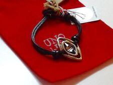 NWT Uno de 50 Leather/Silvertone Bracelet w/ Grey Kite-Shaped SwarovskI