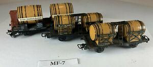 Three Marklin HO Scale Keg Tank Cars BORDEAUX & Actien - Gesellsch MF-7