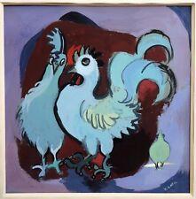 LATIL Yvonne (1909-2000) Deux Poules Peinture Gouache Originale Signée