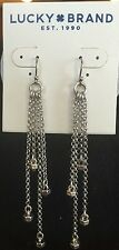 LUCKY BRAND Silver Tone Multi-Chain~Decorative Accents Dangle Earrings~NWT $29