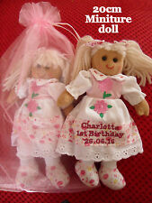 PERSONALISED MINIATURE RAG DOLL 20CM 1ST 2ND 3RD 4TH BIRTHDAY ANY AGE & GIFT BAG