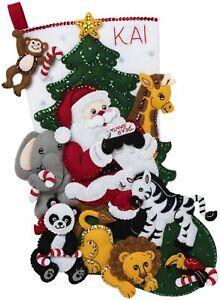 Bucilla Felt Ornaments Applique Kit Set Of 6-Jungle Santa