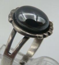 Größenverstellbar Ring 925 Silber Hämatit Stein