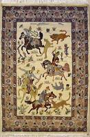 Rugstc 3x5 Pak Persian White  Rug, Hand-Knotted,Pictorial Hunting,Silk/Wool
