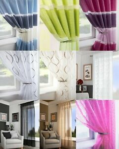 CLEARANCE Single Voile Patterned Curtain Sheer Panels Slot Top - Free Postage