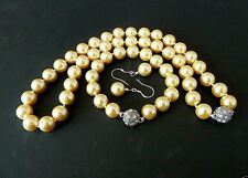 10mm yellow South Sea shell pearl fashion necklace bracelet earring  set 18''