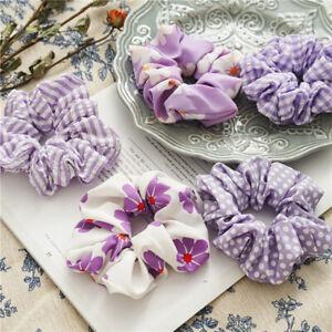 Elastisch Damen Blumenmuster Lila Haargummi Haar Seil Pferdeschwanz Halter