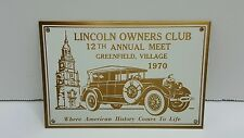 Lincoln Owners Club 1970 Plaque 12th Annual Meet Brass and Enameled Plate UNUSED