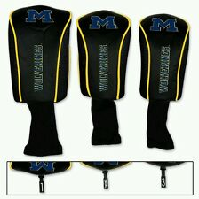 Michigan Wolverines 3 Pack Golf Head Covers Set FREE SHIPPING Embroidered Mesh