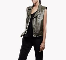 0e9ee545d3 New THEORY Luxurious Leather SAMISON Moto Biker Vest Sz M Military Green  $855