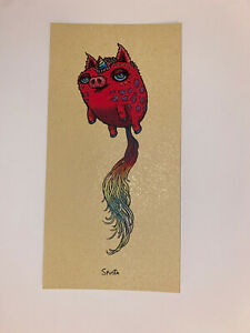 Marq Spusta Pigtail Art Print Mini 2021 Silkscreen Gold Fleck Paper