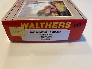 WALTHERS 932-3931 263' 5-UNIT ALL PURPOSE SPINE CAR Trailer Train TTX #79603 NEW