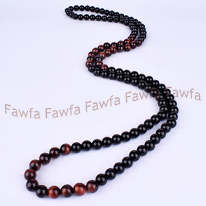 Natural 8mm Black Onyx and Tiger Eye Round Gemstone Bead Necklace