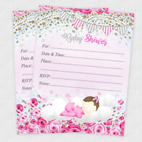 20 Baby Shower Invitations Girl Cards Invites Decorations & Envelopes Rose
