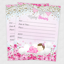 Baby shower greeting cards and invitations ebay 20 baby shower invitations girl cards invites decorations envelopes rose filmwisefo Choice Image
