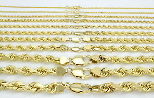 """14K Yellow Gold Solid 1-10mm Rope Chain Link Pendant Necklace Men Women 16""""- 30"""""""