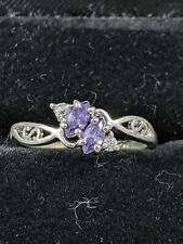 Sterling Silver Amethyst & Cubic Zirconia Ring Size 6