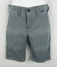 """New Hurly Youth Boys' Flat Front Striped 10"""" Shorts Gray Size 140"""