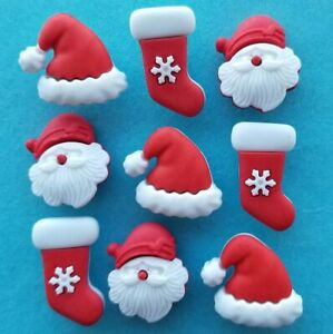 HO HO HO Father Christmas Santa Face Hat Stocking Red White Craft Buttons Galore
