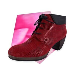 WOLKY Red Black Suede Comfort Jacquerie Red Dessin Suede Booties Size 40
