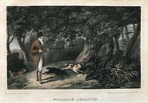 1817 Antique Hunting Print; Woodcock Shooting after James Barenger