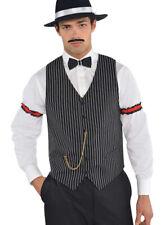 Mens 1920s Vest Striped Gangster Waistcoat