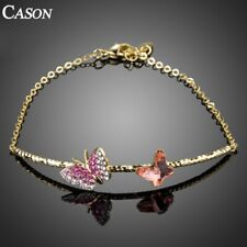 Pink Crystal Long Chain Bracelets for Women Gold Butterfly Party Jewelry Gift