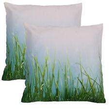 Pair Statement Green Grass Meadow Garden Sofa Contemporary Cushion Covers 18x18