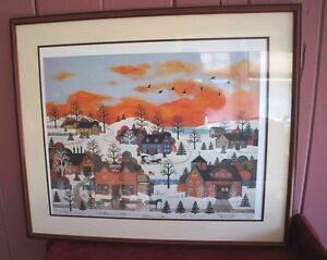 "FRAMED & MATTED LITHOGRAPH: JANE WOOSTER SCOTT ""A SUNSET LONG AGO"" WITH COA"
