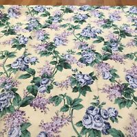 Rare LONGABERGER Yellow Floral Bathroom Shower Curtain Purple Lilacs Blue Roses