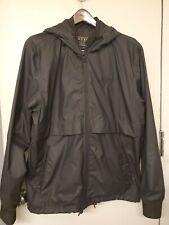 Guess Classics Mens Large Black 100% Nylon Full Zip Hooded Rain Jacket Spellout