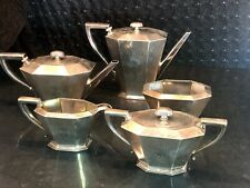 New ListingFine American 1915 Sterling Silver 5 Piece Art Deco Tea Set By Whiting - 1894 g