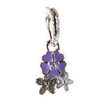 HOT 925 Silver three flowers CZ pendant Fit European Charm Bead Bracelet #A133