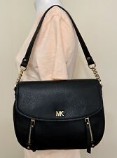 Michael Kors Bedford Evie Convertible Black Leather Shoulder Crossbody Bag