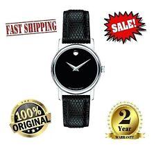 4✅ Movado 2100004 Women's Museum Black Dial Black Leather Strap Watch