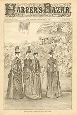 Victorian Ladies Fashion, Reception, Spring Jackets Vintage, 1887 Antique Print.