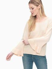 Splendid Womens Ruffle Hem Ribbed Trim Pullover Sweater Blush Pink S MSRP:$128