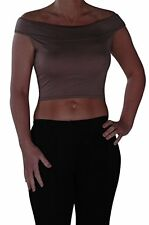 Womens Sleeveless Off the Shoulder Cropped Casual Plain Skinny Fit Stretch Top