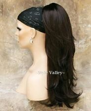 Dark Brown Ponytail Extension Hair Long Wavy Layered Clip in/on Hairpiece #4