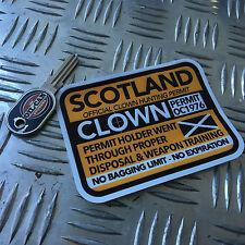 CLOWN HUNTING PERMIT sticker scotland 110 x 80mm  killer clown