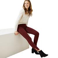New LOFT Womens Petite 8P Black Cherry Burgundy Marisa Skinny Slit Cuff Pants