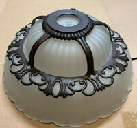 Vintage Art Deco Frosted Glass w/ Metal Cap Ceiling Lamp Shade