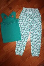 New Janie & Jack Paradise Cruise Size 5 Set Green Ruffle Tank Top Palazzo Pants